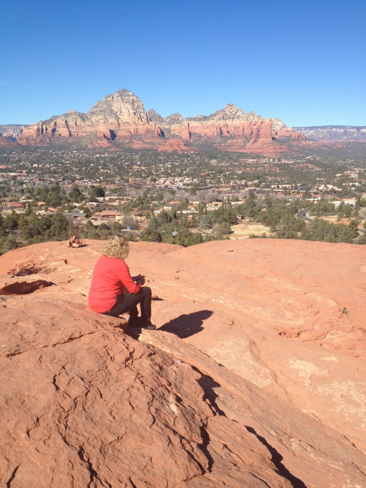 Sitting on rock in Sedona Arizona!
