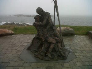 Amazing copper Sculpture in memory of lost fisherman at sea!