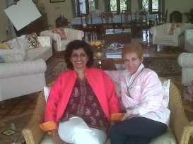 With friends Kirti and Heidi at Kirti 's beautiful home in Mt Abu.
