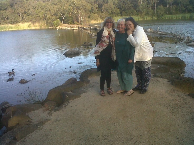 Friends, Barbara, and Carmen in beautiful Melbourne Park!
