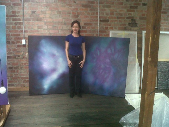 Caption: My friend Corinne and her art, she is magnificent painter and shows in number of galleries in Hobart!