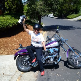 Went to County Fair on back of Purple Vintage Harley, complete with Harley t-shirt!!! (California)