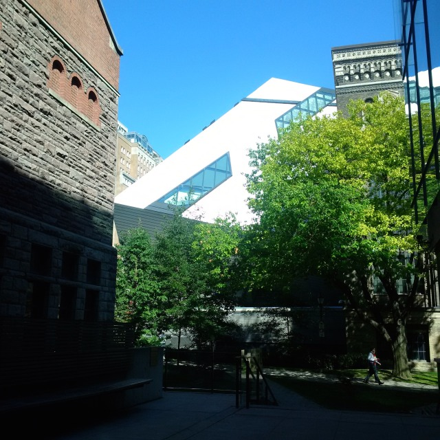 Corners of 4 iconic buildings in Toronto, University of Toronto, Park Plaza hotel,(old name) Royal Ontario Museum and Royal Conservatory of Music