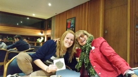 In Cambridge UK'S student lounge with lovely Lucy!