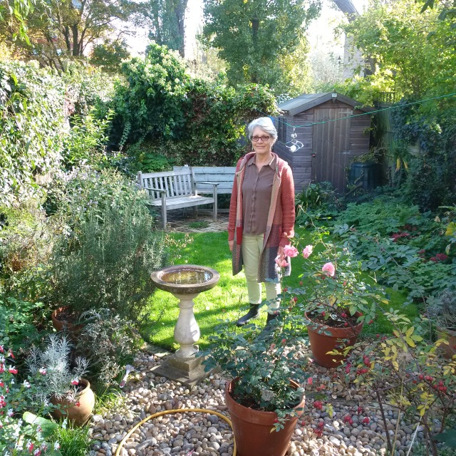 My new landlady Sarah in her garden in Cambridge UK (From April 2016)