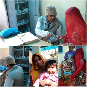 Dr Sharma at free Sunday Health Clinic, he is Doctor, Poet, Music Composer, Painter, Writer!