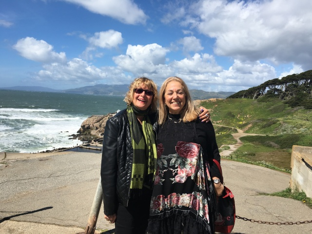 Friend Barbara and myself at the Pacific Ocean