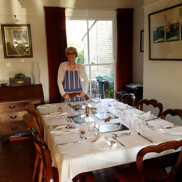 My landlady Sarah at her Australian Theme dinner table, to which I have been invited!