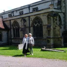 With my landlady Sarah, in front of a beautiful 16th century church!