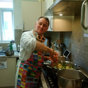 Friend, BK David, in Leeds, now this is way to make lunch, headphones, and cool apron!