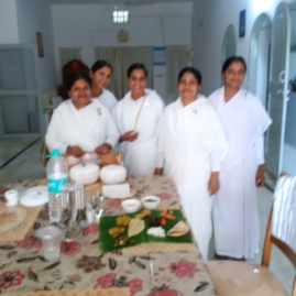 Lunch on Banana Leaf cooked by these very special sisters! Puri Retreat Centre!