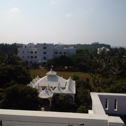 Overlooking the large BK Retreat Centre in Puri