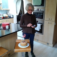 Sarah! My landlady, made cake pouting against election of Trump!!