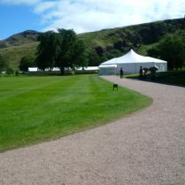 Getting ready for the Queen's annual garden party in Edinburgh