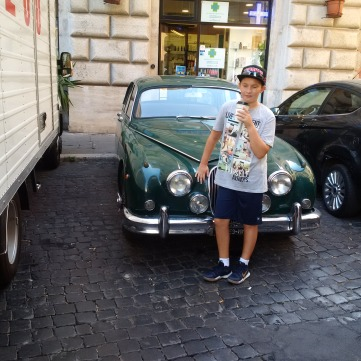 Grandson Ben with old Jag at Netflicks set in Rome!