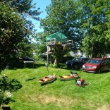 Newfoundland back yard! Kayaks, Lawn mower, tree house and Zip line, pretty cool!