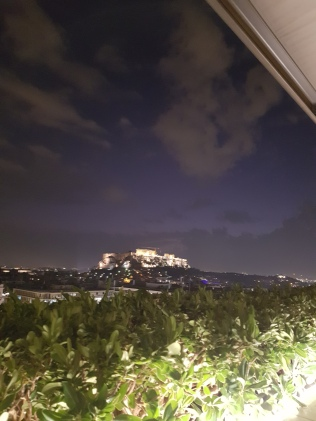 Acropolis at night.