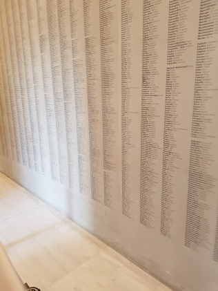 Instead of a donor wall, this centre has listed all the workers on the project.