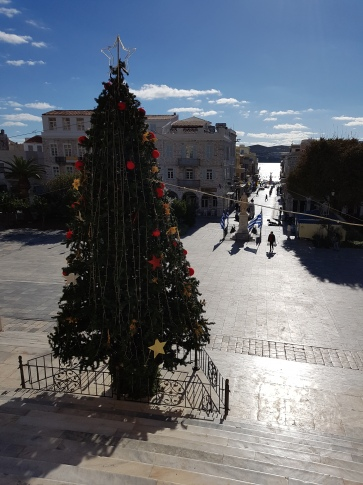 View from steps of Town Hall in Syros toward the sea