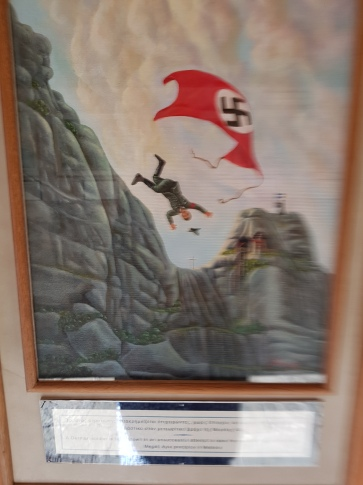Painting in Monastery of failed attempt to raise Nazi Flag on building