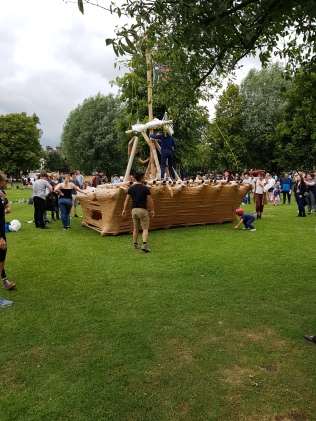 Cardboard home made boat race in Cambridge