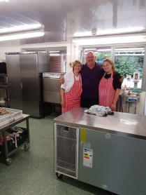 Chefs in kitchen with Neil, the boss, as he is called!