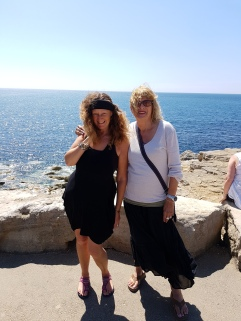 With my friend Janet at the sea