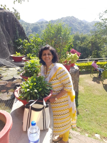 Friend Kirti in her beautiful garden