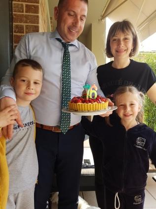 My Greek Family with my Birthday cake!